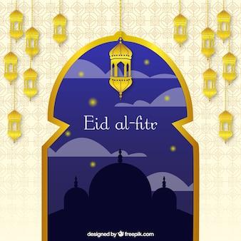 Fondo de eid al-fitr con ventana y farolillos dorados
