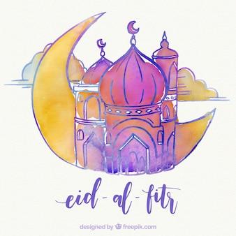 Fondo de eid al fitr de mezquita y luna de acuarela