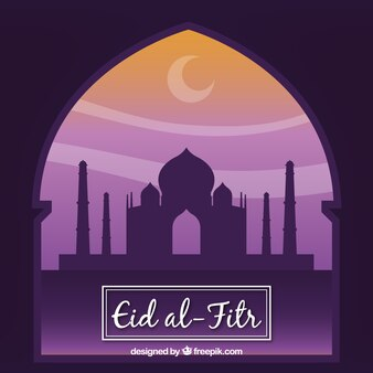Fondo de eid al-fitr de ventana con mezquita
