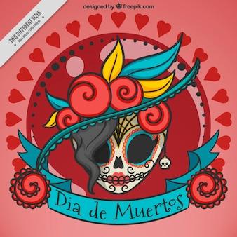 Fondo de elegante calavera mexicana