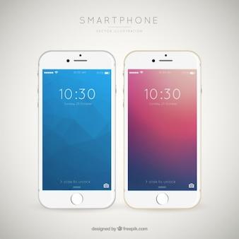 Fondo de elegantes teléfonos móviles