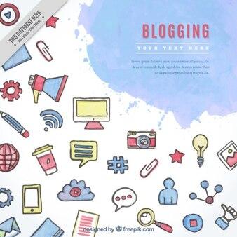 Fondo de elementos de blog de acuarela
