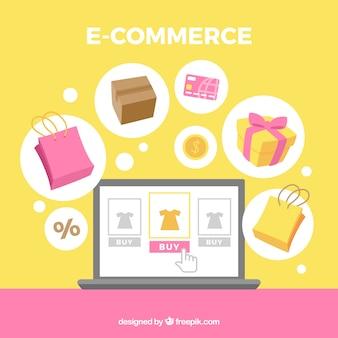 Fondo de elementos de e commerce en diseño plano