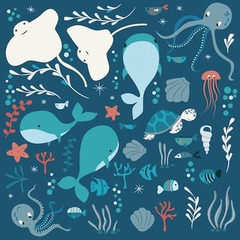 Fondo de elementos de vida marina