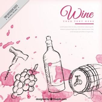 Fondo de elementos de vino dibujados a mano con manchas de acuarela