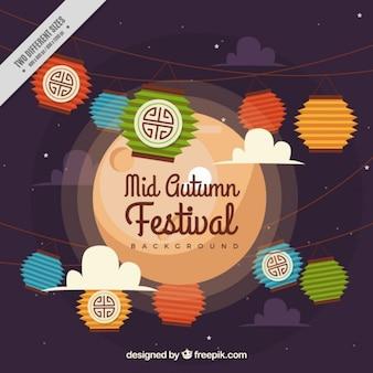 Fondo de elementos decorativos del festival de medio otoño