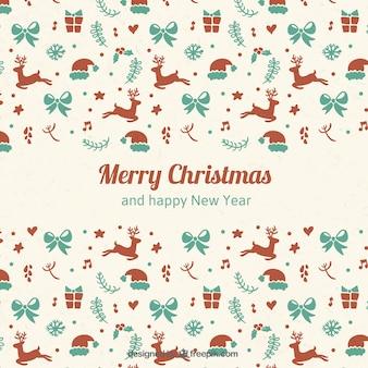 Fondo de elementos lindos de navidad