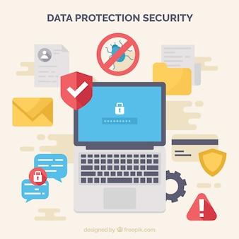 Fondo de elementos para proteger los datos en diseño plano