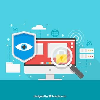 Fondo de elementos planos de seguridad en internet