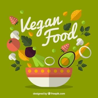 Fondo de ensalada vegana deliciosa en disñeo plano