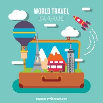 Fondo de equipaje con elementos de viaje en diseño plano