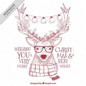 Fondo de esbozo de reno hipster con mensajes navideños