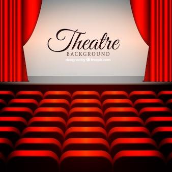 Fondo de escenario de teatro con butacas