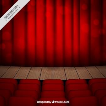 Fondo de escenario de teatro con efecto bokeh
