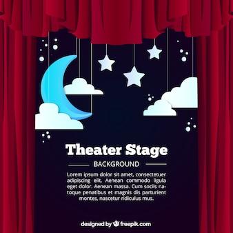 Fondo de escenario de teatro con luna y nubes colgando