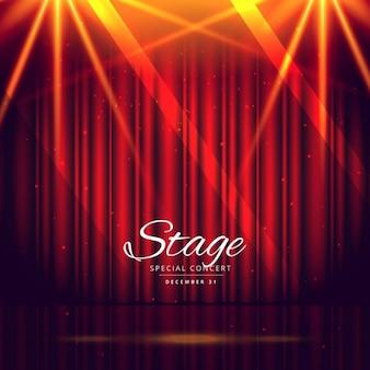 Fondo de escenario rojo con cortinas cerradas