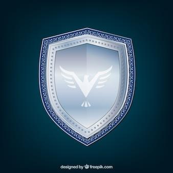 Fondo de escudo plateado con águila