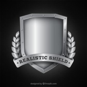 Fondo de escudo plateado realista