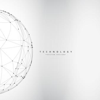 Fondo de esfera digital hecha con líneas