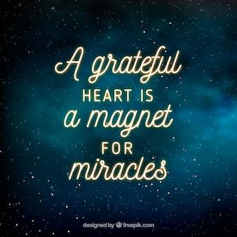 Fondo de espacio con inspiradora frase de gratitud