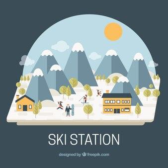 Fondo de estación de esquí con montañas en diseño plano
