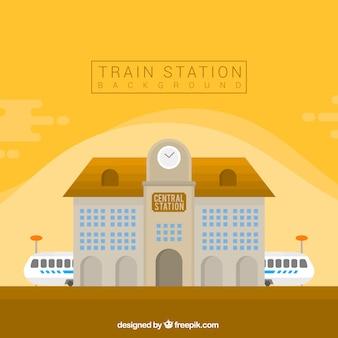 Fondo de estación de tren en diseño plano