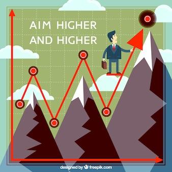Fondo de estadística con hombre de negocios y montañas