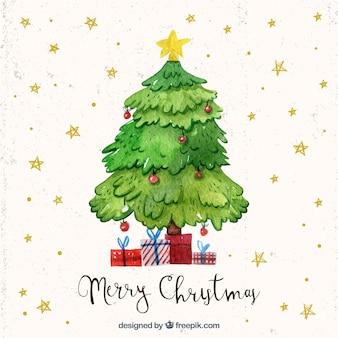 Fondo de estrellas de árbol de navidad de acuarela