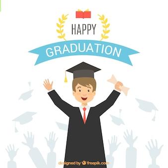 Fondo de estudiante celebrando su graduación