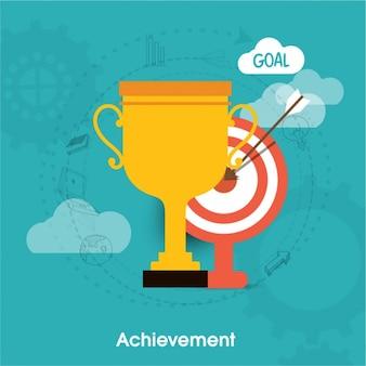 Fondo de éxito con trofeo y diana
