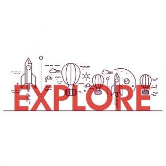 Fondo de explora con globos y cohetes en diseño plano