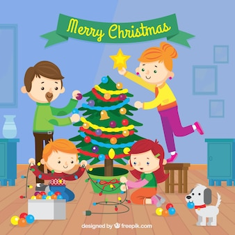 Fondo de familia decorando juntos el árbol de navidad