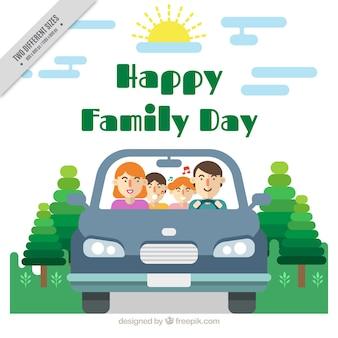 Fondo de familia en un coche con los niños cantando