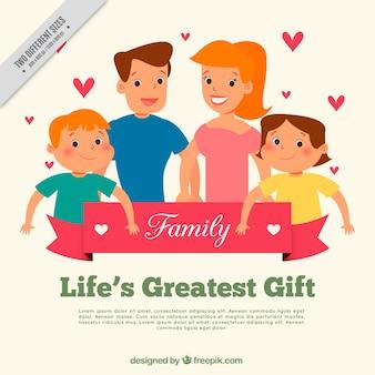 Fondo de familia linda con corazones decorativos