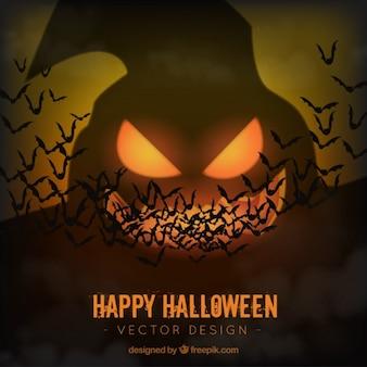 Fondo de fantasma de halloween con murciélagos