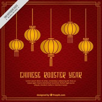 Fondo de faroles dorados para el año nuevo chino