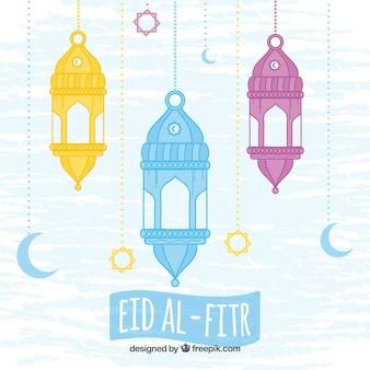 Fondo de farolillos de colores de eid al-fitr