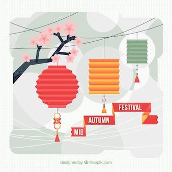 Fondo de farolillos en diseño plano del festival del medio otoño