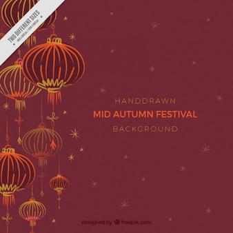 Fondo de farolillos orientales del festival del medio otoño