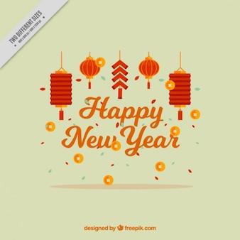 Fondo de feliz año chino con farolillos decorativos
