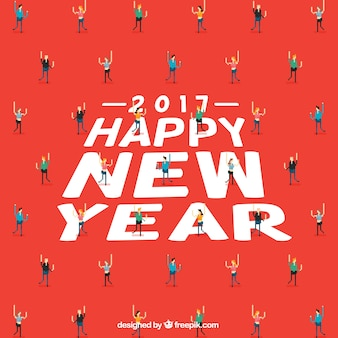 Fondo de feliz año nuevo con personas pixeladas
