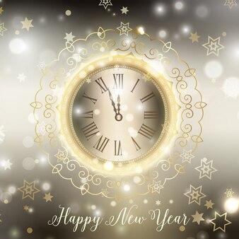 Fondo de feliz año nuevo con reloj decorativo