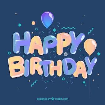 Fondo de feliz cumpleaños con globo y formas memphis