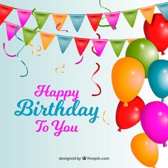 Fondo de feliz cumpleaños con globos de colores y guirnaldas