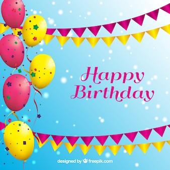 Fondo de feliz cumpleaños con globos
