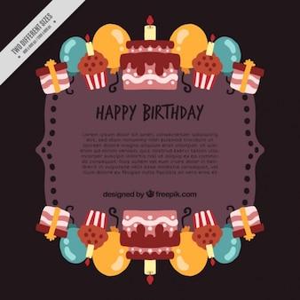 Fondo de feliz cumpleaños  con pasteles y globos