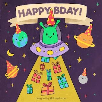 Fondo de feliz cumpleaños con personajes del espacio
