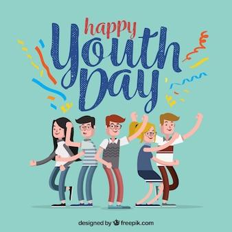 Fondo de feliz día de la juventud con chicos divirtiéndose