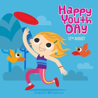 Fondo de feliz día de la juventud con niña jugando