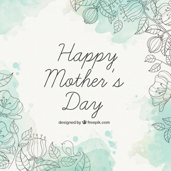Fondo de Feliz Día de la Madre con manchas de acuarelas